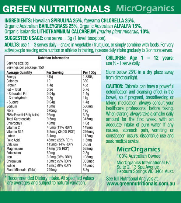 Green Superfoods Powder Label