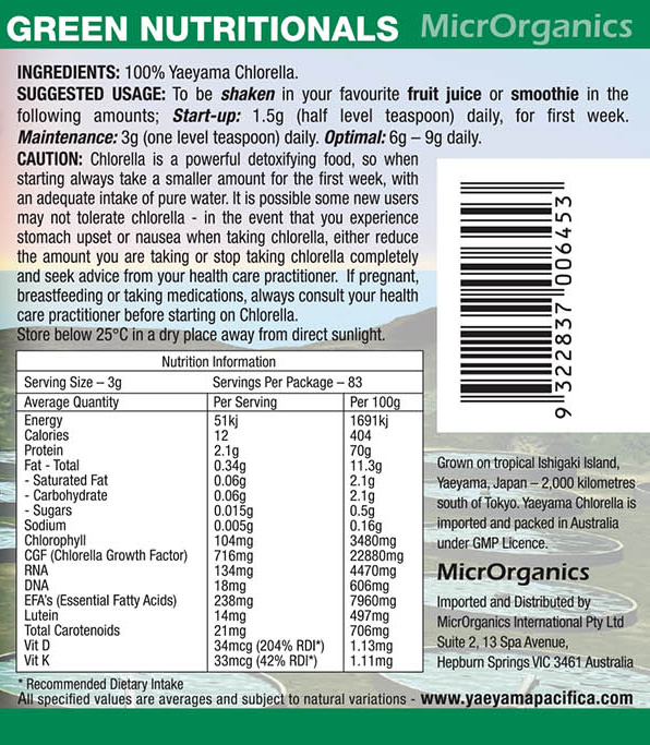 Yaeyama Pacifica Chlorella Powder Label