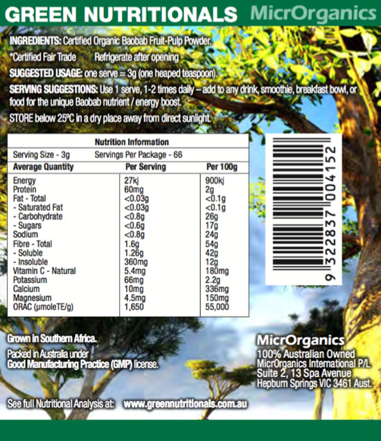 Organic African Baobab Powder Label