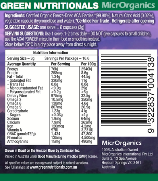 Organic Amazon Acai Capsules Label