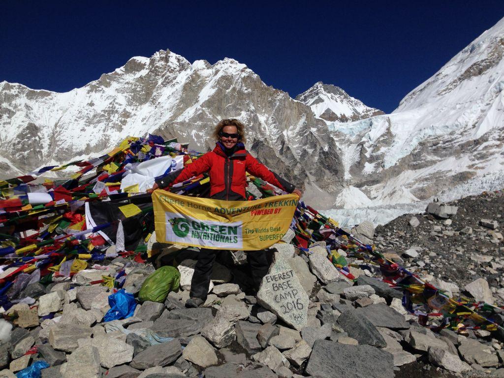 Cherie Horne - Everest Base Camp Trek 2016. Cherie at Base Camp Everest (5,364m).
