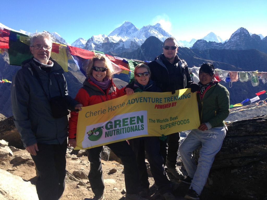 Cherie and her clients on the Cho La Pass (5,420m). Everest Base Camp via Gokyo Lakes Trek 2016