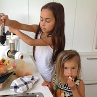 The Inspired family - Jasmine and Jade making juice