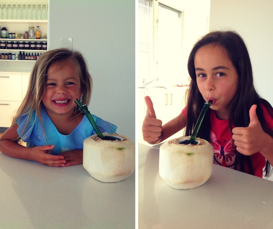 The inspired family - girls enjoying their super-juice