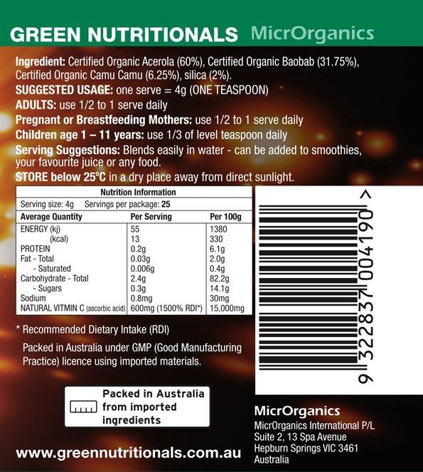 Vitamin C Powder Label
